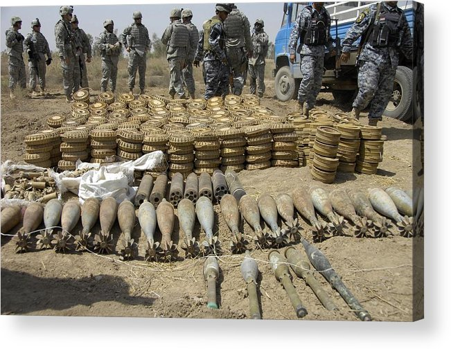 History Acrylic Print featuring the photograph Iraqi National Police And Us Soldiers by Everett