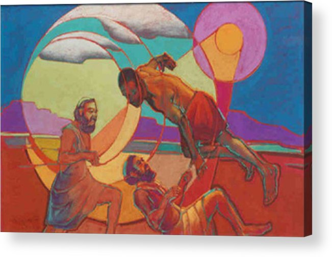 Biblical Acrylic Print featuring the painting Jacob Wrestling With The Angel by Suzanne Cerny