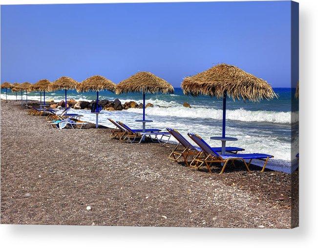 Kamari Acrylic Print featuring the photograph Kamari - Santorini by Joana Kruse