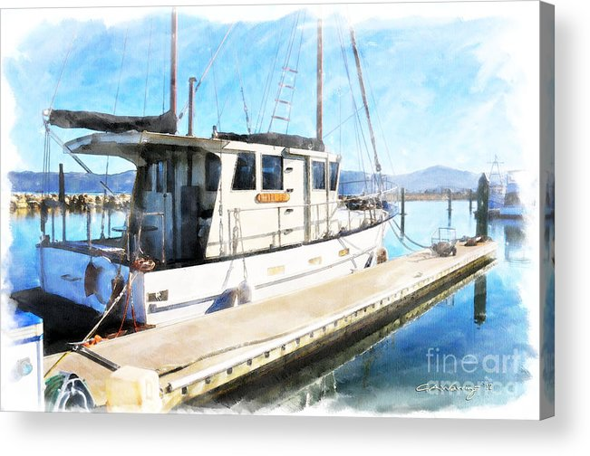 Acrylic Print featuring the digital art Karen Lea Moored At Seaview Marina by Chris Warring