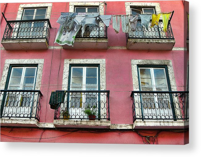 Lisbon Acrylic Print featuring the photograph Laundry And A Pink Building Lisbon by Nathan Mccreery