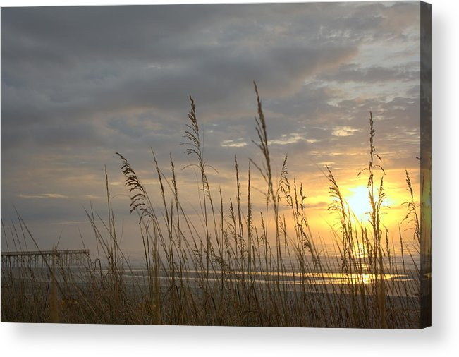 Pier Acrylic Print featuring the photograph Looking Back by Lynn Davenport