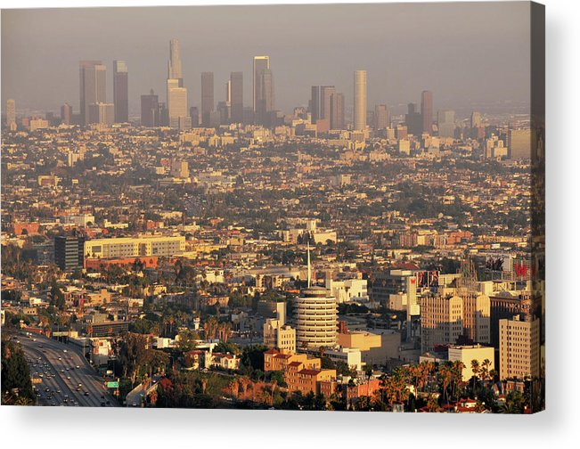 Horizontal Acrylic Print featuring the photograph Los Angeles Skyline by Photo by Seattle Dredge