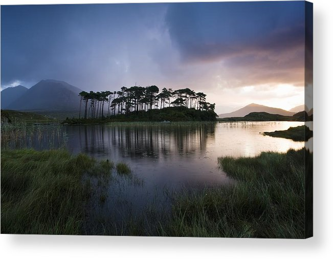 Flat Acrylic Print featuring the photograph Lough Derryclare, Twelve Bens, Co by Peter McCabe