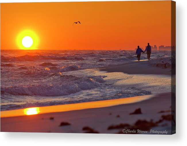 Beach Acrylic Print featuring the photograph Lover's Stroll by Charles Warren