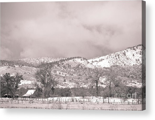 'low Clouds' Acrylic Print featuring the photograph Low Clouds On The Colorado Rocky Mountain Foothills 3 Bw by James BO Insogna