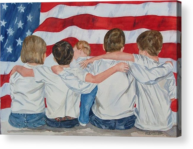 Patriotic Acrylic Print featuring the painting Made In The Usa by Paula Robertson