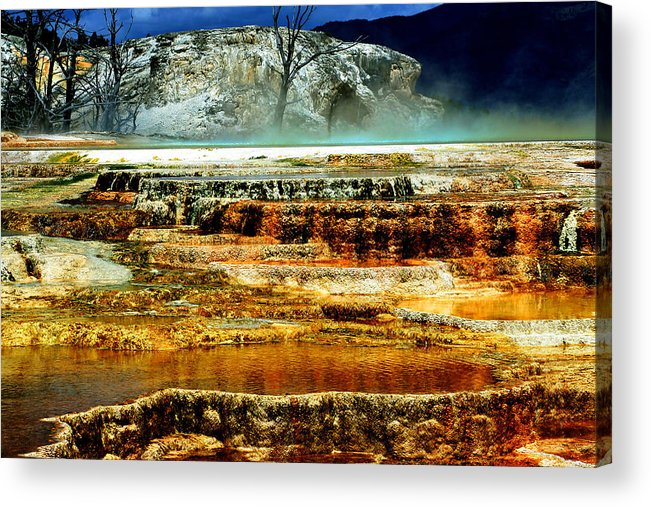 Yellowstone Acrylic Print featuring the photograph Mammoth Terrace - Yellowstone by Ellen Heaverlo