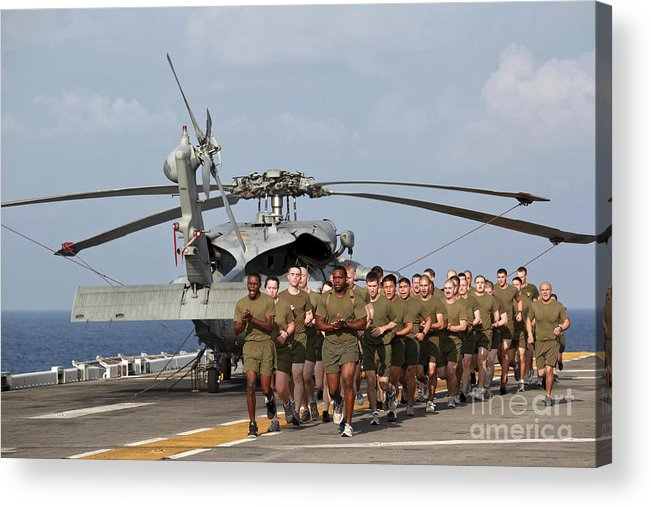 Warship Acrylic Print featuring the photograph Marines And Sailors Run Aboard Uss by Stocktrek Images