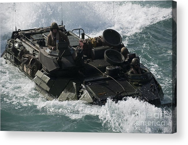 Warship Acrylic Print featuring the photograph Marines Drive An Amphibious Assault by Stocktrek Images