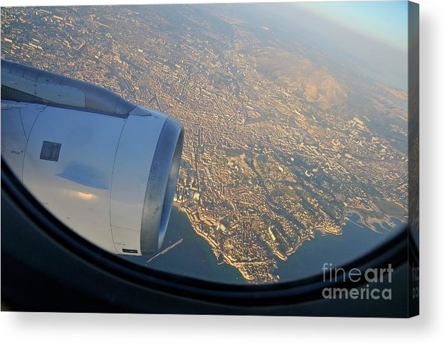 City Acrylic Print featuring the photograph Marseille City From An Airplane Porthole by Sami Sarkis