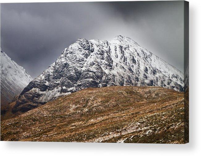 Britain Acrylic Print featuring the photograph Meall Dearg Mountain At Glencoe Scotland by Gabor Pozsgai