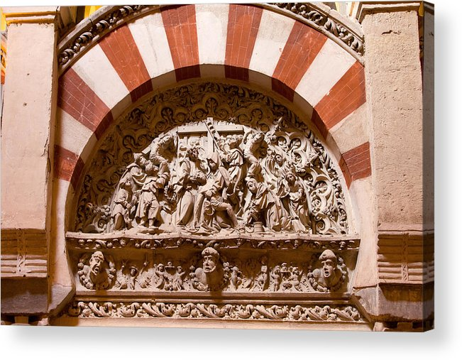 Mezquita Acrylic Print featuring the photograph Mezquita Cathedral Religious Carving by Artur Bogacki