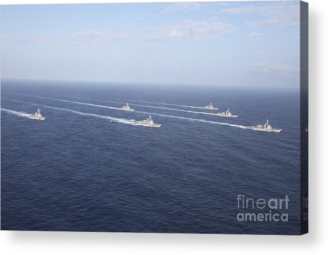 Uss Mustin Acrylic Print featuring the photograph Military Ships Transit The Philippine by Stocktrek Images
