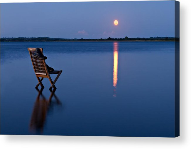 Blue Acrylic Print featuring the photograph Moon Boots by Gert Lavsen