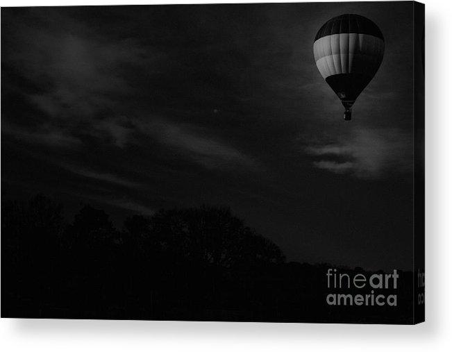Hot Air Balloon Acrylic Print featuring the mixed media Moon Light Flight by Kim Henderson