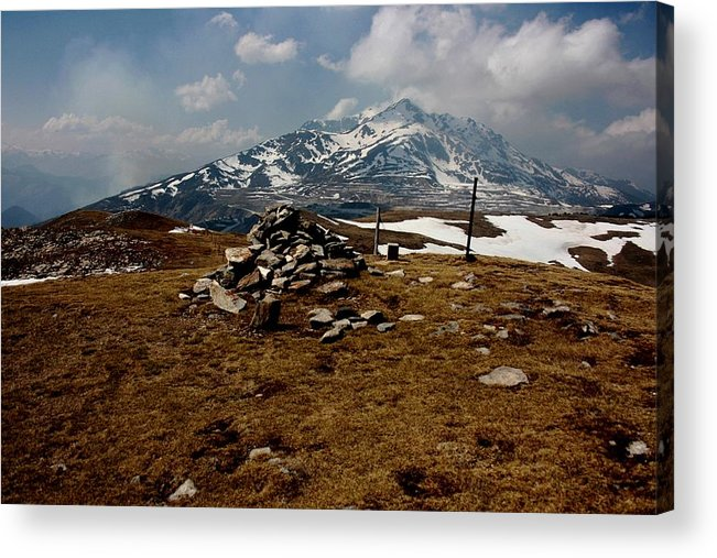 Pyrenees Mountain Hiking Blue White Fields Rock Spring Cairns Acrylic Print featuring the photograph Mount St Barthelemy by Frederic Vigne