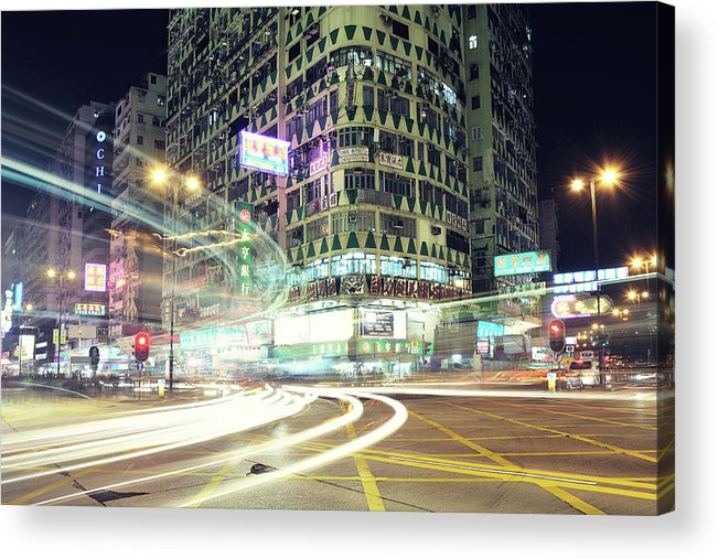 Horizontal Acrylic Print featuring the photograph Nathan Road by Thank you for choosing my work.