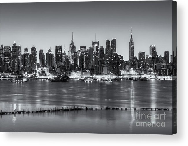 Clarence Holmes Acrylic Print featuring the photograph New York City Skyline Morning Twilight Iv by Clarence Holmes