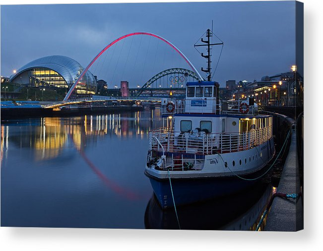River Tyne Acrylic Print featuring the photograph Newcastle Quayside At Night by David Pringle