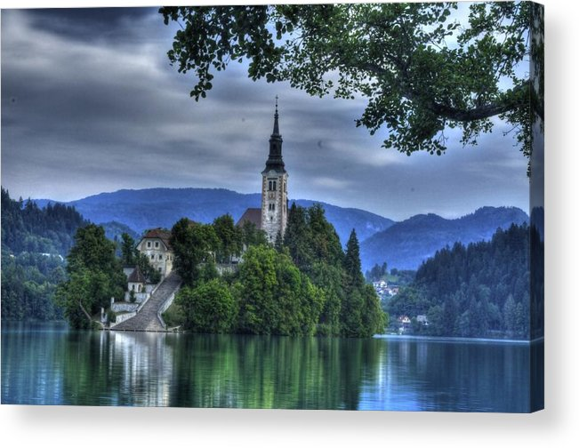 Lake Bled Acrylic Print featuring the photograph ninty-nine steps to the Chuch by Don Wolf