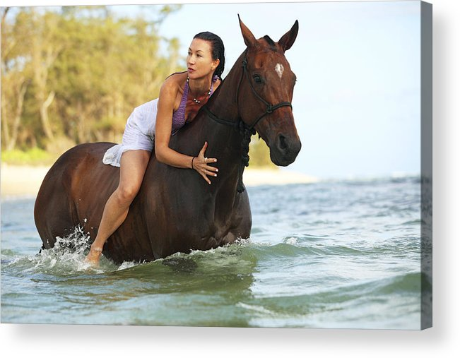 Activity Acrylic Print featuring the photograph Ocean Horseback Rider by Vince Cavataio