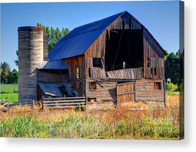 Morning Acrylic Print featuring the photograph Old Barn With Concrete Grain Silo - Utah by Gary Whitton