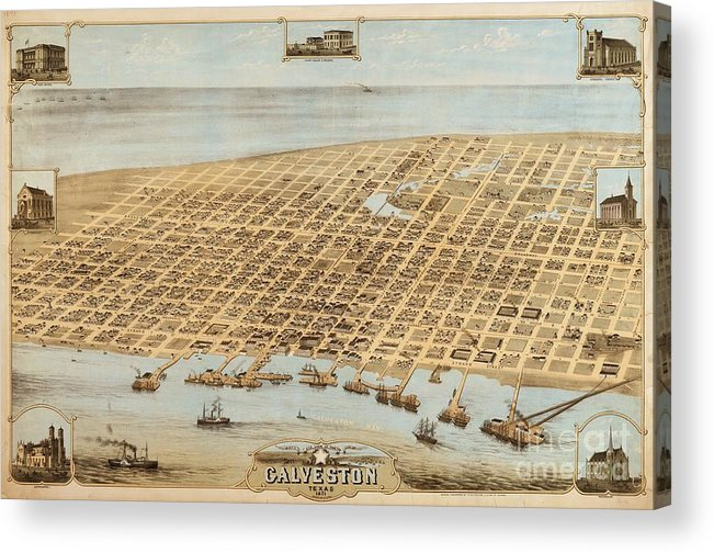 Reproduction Acrylic Print featuring the drawing Old Galveston Map by Pg Reproductions
