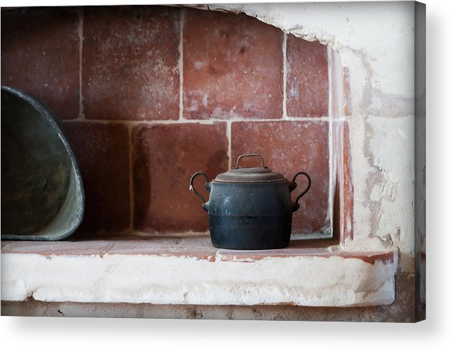 Scene Acrylic Print featuring the photograph old kitchen - A part of a traditional kitchen with a vintage metal pot by Pedro Cardona Llambias