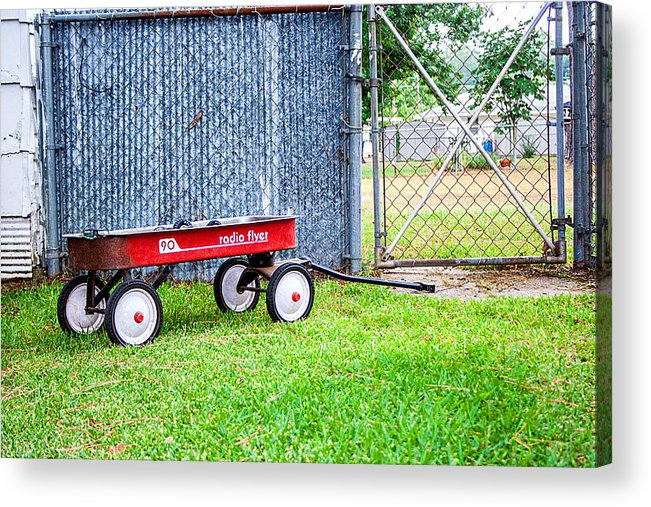 Radio Flyer Photograph Acrylic Print featuring the photograph Old Radio Flyer Wagon by Ester Rogers