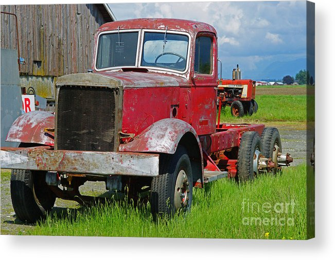 Trucks Acrylic Print featuring the photograph Old Rusted Semi-truck by Randy Harris