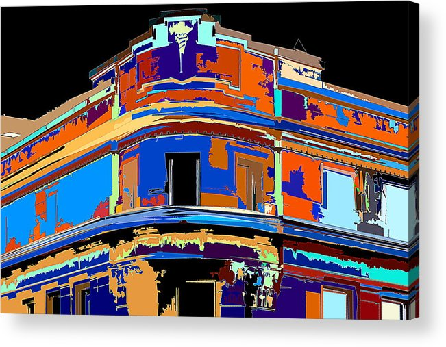 Building Acrylic Print featuring the photograph On The Corner by Burney Lieberman