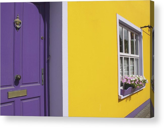Flower Box Acrylic Print featuring the photograph Painted Buildings On Main Street In by Trish Punch