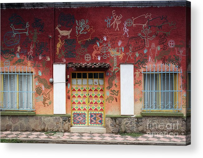Door Acrylic Print featuring the photograph Painted Symbols by Susan Isakson