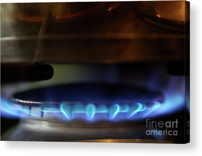 Ring Acrylic Print featuring the photograph Pan On Lit Blue Gas Ring by Sami Sarkis