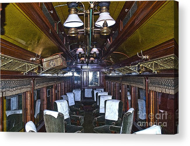 Sandy River & Rangeley Lakes Railroad Acrylic Print featuring the photograph Parlor Car - Artistic by Tim Mulina