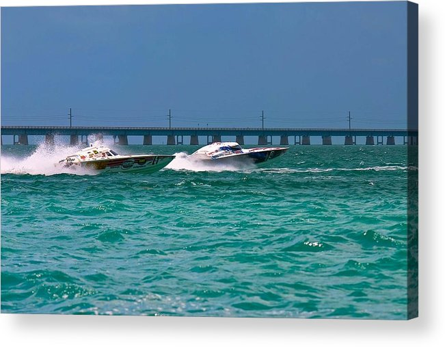 Ocean Racers Acrylic Print featuring the photograph Passing 3 by Michael Ray