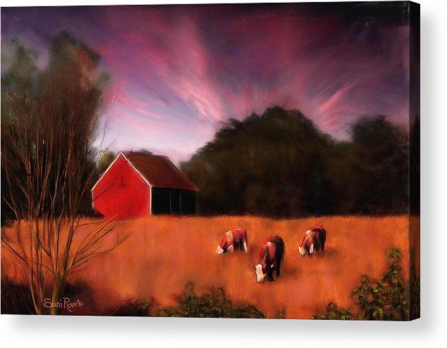 Landscape Acrylic Print featuring the painting Peaceful Pasture by Suni Roveto