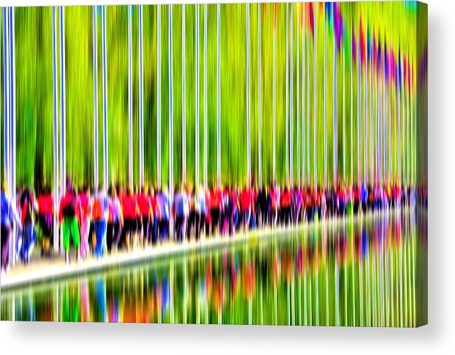 Abstract Acrylic Print featuring the digital art People Walking In The City-1 by Joel Vieira