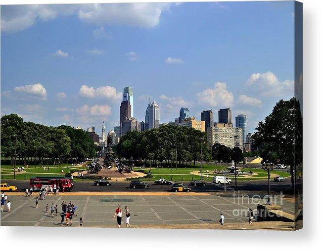Philadelphia Acrylic Print featuring the photograph Philadelphia Skyline 5 Art Museum by Bener Kavukcuoglu