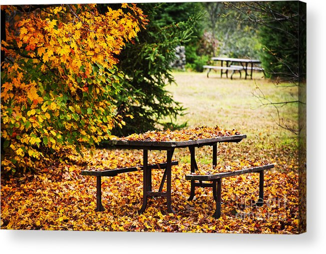 Picnic Table With Autumn Leaves Acrylic Print By Elena Elisseeva - Picnic table print