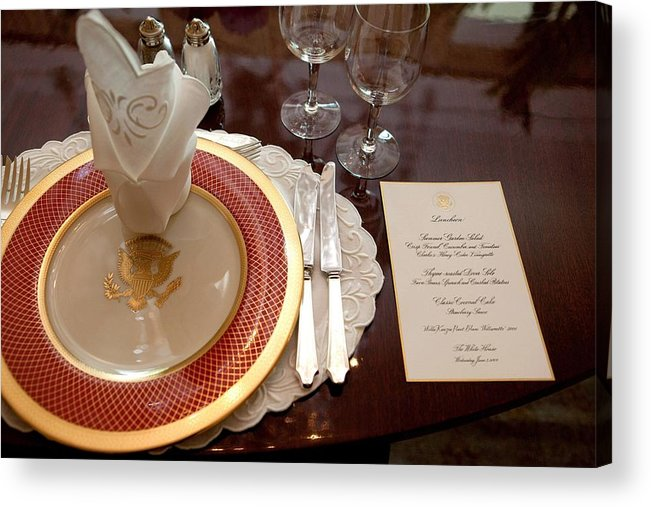 History Acrylic Print featuring the photograph Place Setting Of The White House China by Everett