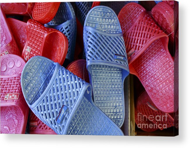 Vancouver Acrylic Print featuring the photograph Plastic Slippers Chinatown Vancouver by John Mitchell