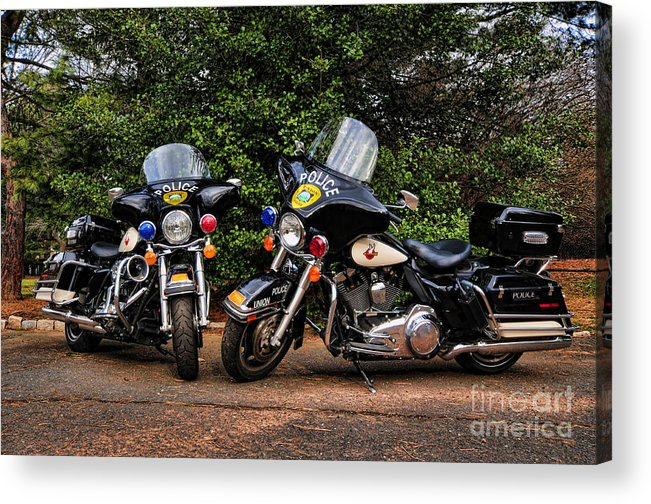 Police Bike Acrylic Print featuring the photograph Police Motorcycles by Paul Ward