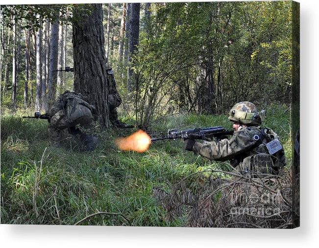 Shooting Acrylic Print featuring the photograph Polish Soldiers Engage In Simulated by Stocktrek Images
