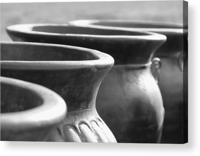 Terracotta Acrylic Print featuring the photograph Pots In Black And White by Kathy Clark