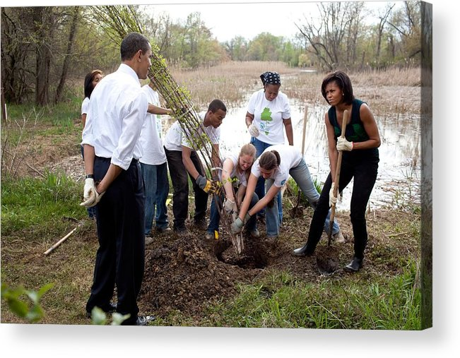 History Acrylic Print featuring the photograph President And Michelle Obama Help Plant by Everett