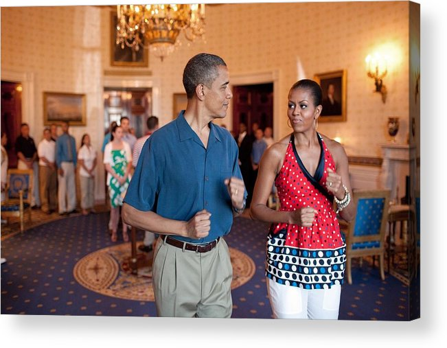 History Acrylic Print featuring the photograph President And Michelle Obama Pretend by Everett