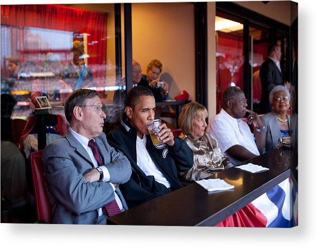 History Acrylic Print featuring the photograph President Barack Obama Watches The 2009 by Everett