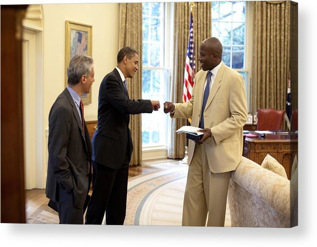 History Acrylic Print featuring the photograph President Obama Gives A Fist-bump by Everett